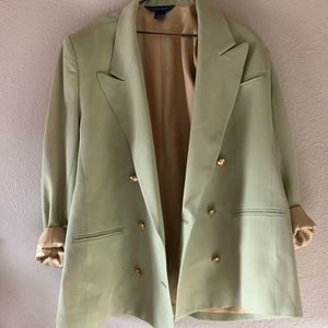 Oversized slouchy vintage lime green wool blazer